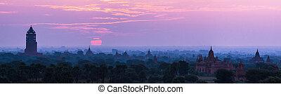 tempel, myanmar, bagan, sonnenaufgang, panoramische ansicht