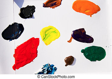 Tempera Paints Stains on Paper Photo
