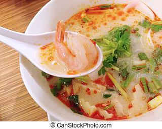 temperado, alimento, erva, sopa camarão, yum, kung, tom, tailandês