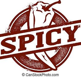 temperado, alimento, pimenta pimentão, selo