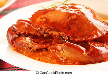 temperado, carangueijo, prato