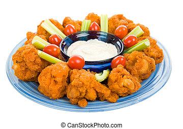 temperado, galinha, asa, platter