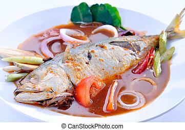 temperado, gosto, peixe, -, assam, azedo