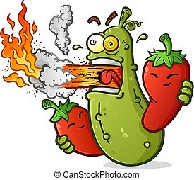 temperado, pickle, caricatura, com, pimentas quentes, fogo vivente