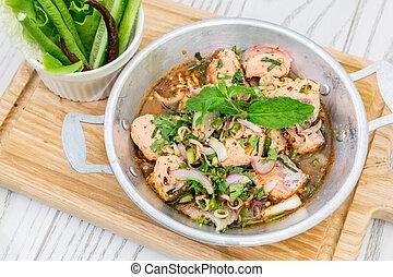 temperado, salmão, salada