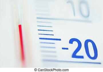 temperatur, menos, grado, termómetro