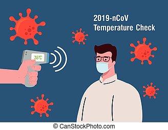 temperatura, 19, corpo, presa a terra, coronavirus, assegno, temperatura, mano, misura, covid, uomo, infrarosso, termometro