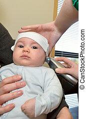 temperatura, arriba, recién nacido, termómetro, oreja,...