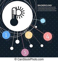 temperatura, medicina, termómetro, tiempo, clima, icono, con, el, plano de fondo, a, el, punto, y, con, infographic, style., vector