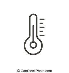temperatura, símbolo., vector., termômetro, linha, ícone