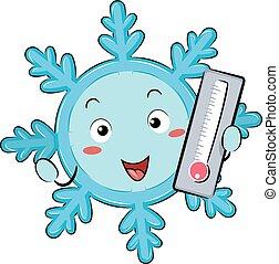 temperatura, snowflake, mascote, gelado, ilustração
