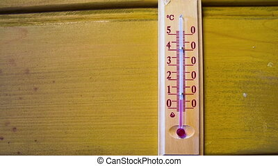 Temperature increases on a thermometer. Timelapse
