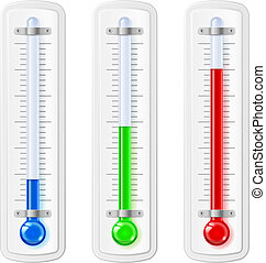 Temperature indicators, blue, green, red, plastic material...