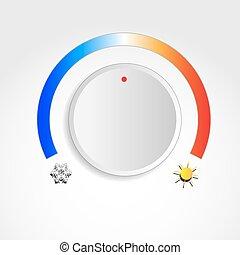 Temperature knob with sun and snowflake symbols
