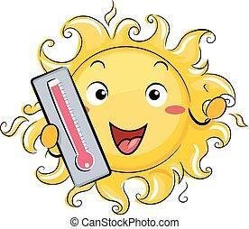 Temperature Sun Mascot Hot Illustration