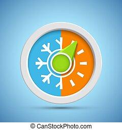 temperaturen, pictogram, koude, regelaar, warme, thermostat., controle, klimaat
