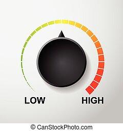 temperatuur, controle, vector, wijzerplaat