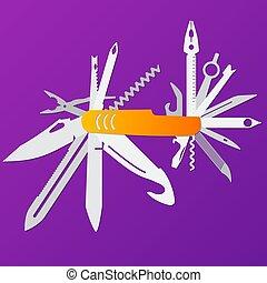 temperino, multifunction, illustrazione, multiuso, coltello, vector., appartamento, lama svizzera esercito