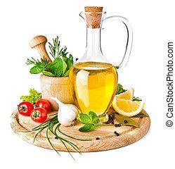 tempero, e, ervas, com, azeite oliva