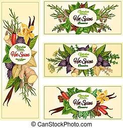 tempero, erva, e, condimento, bandeiras, para, alimento, desenho