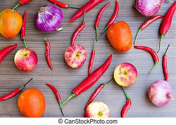 temperos, frutas, legumes, fundo, jogo