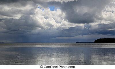 tempesta, sopra, uno, lago