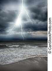 tempesta, su, il, mare, secondo, uno, rain., hdr, immagine