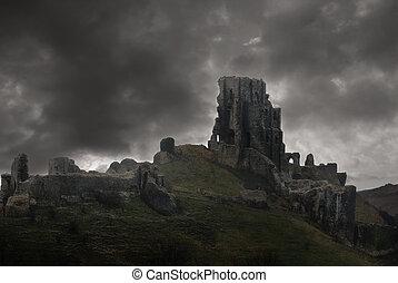 tempestade, acima, castelo, ruínas