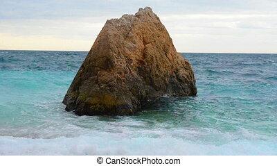 tempestade, em, a, mar, com, grande, rocha