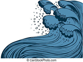 tempestade, em, azul, sea.vector, ondas grandes, branco,...