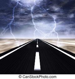 tempestade, estrada