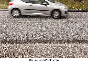 tempestade, estrada, granizo