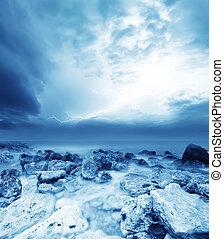 tempestade, ligado, a, mar