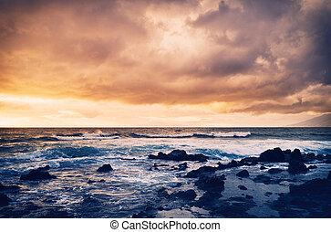 tempestade, ligado, a, mar, oceânicos, tempestade, em, pôr do sol