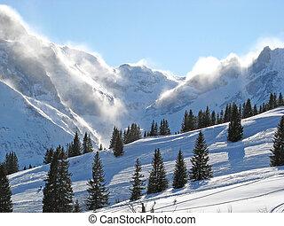 tempestade neve, em, alpes