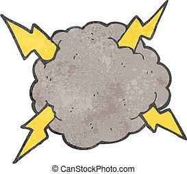 tempestade, retro, nuvem, caricatura