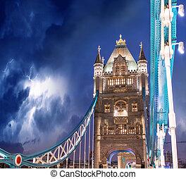 tempestade, sobre, ponte torre, -, londres