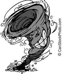 tempestade, tornado, mascote, vetorial, cartoo
