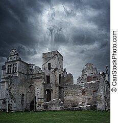 tempestoso, casa residenza, sopra, cielo, rovine