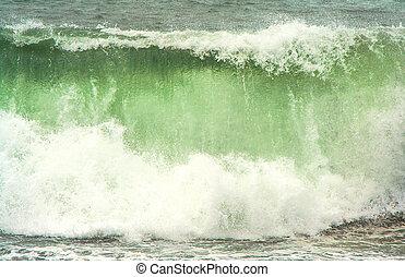 tempestuoso, alto, tiempo, negro, ondas, playa