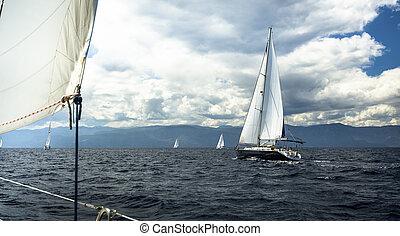 tempestuoso, navegación, blanco, yates, barco, velas, weather.