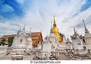 tempio, chiang, dok, suan, (monastery), wat, thailand., mai