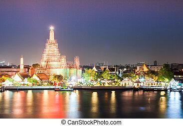 tempio, crepuscolo, bangkok, tailandia, wat arun