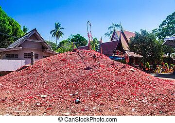 tempio, montagna, mortaretti, tailandese