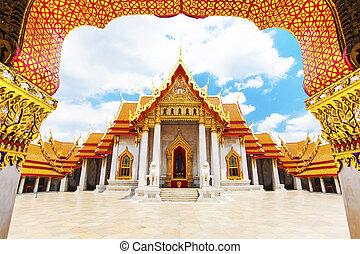 tempio, o, bangkok, benchamabophit, wat, marmo