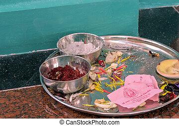 tempio, offerte, in, uno, tempio indù
