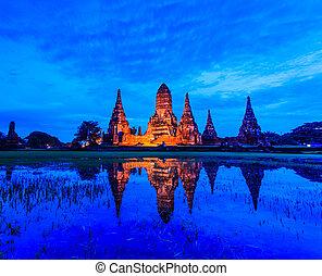 tempio, provincia, ayuthaya, tailandia, wat, chaiwatthanaram