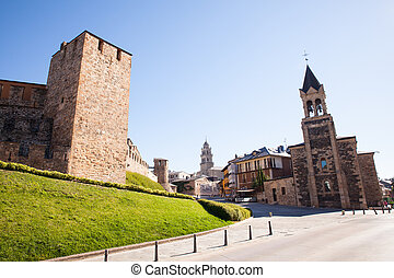 Templar Castle and San Andres church in Ponferrada, Spain -...