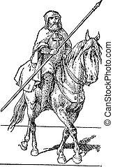 templar, képben látható, ló, szüret, engraving.
