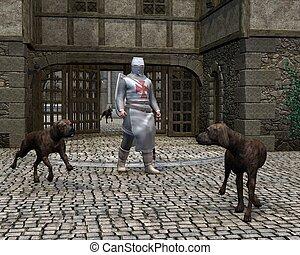 Templar Knight at a castle gate